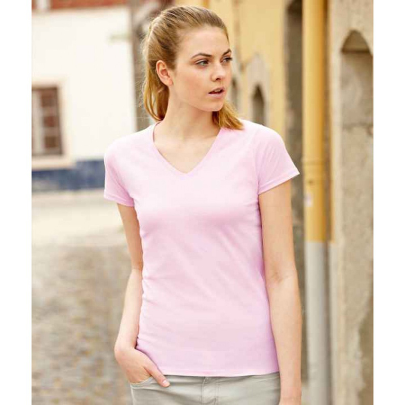 T-shirt Fruit of the Loom Lady-Fit Value Weight scollo a V